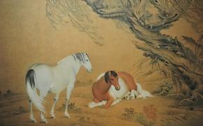Обои природа, дерево, картина, лошади, пара, желтый фон, nature, wood, tree, horses, couple, китайская живопись, Chinese ...