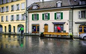 Картинка дождь, улица, здания, дома, Швейцария, rain, Switzerland, street, Carouge, Каруж