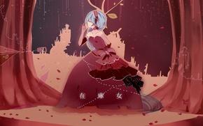 Картинка сцена, лепестки, иероглифы, декорации, занавес, Hatsune Miku, Art, кринолин