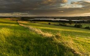 Картинка небо, облака, поля, англия, долина, британия