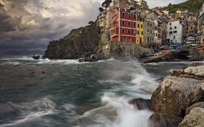 Картинка море, камни, скалы, дома, Италия, Риомаджоре, Чинкве-Терре, Лигурийское побережье