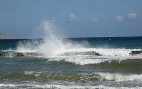 Картинка море, волны, небо, брызги, Греция, горизонт, Крит, волнорез