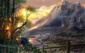 Картинка дорога, река, рисунок, гора
