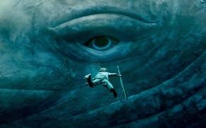 Обои Chris Hemsworth, глаз, ситуация, In the Heart of the Sea, под водой, В сердце моря, ...
