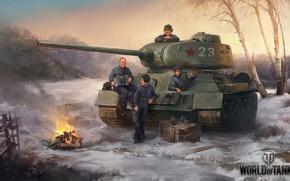 Картинка Путин, танк, мужчины, World of Tanks, Т-34-85, привал, Лукашенко, отдых перед боем