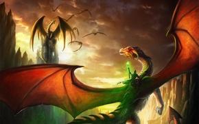 Картинка скалы, магия, драконы, арт, маг, всадник, посох, alayna