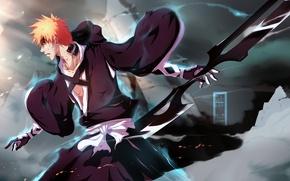Картинка оружие, магия, кровь, дым, парень, Bleach, Блич, kurosaki ichigo, art, раны, IFrAgMenTIx