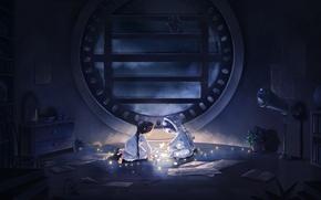 Обои звезды, ночь, комната, космонавт, аниме, арт, девочка, гирлянда, camelt