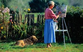 Картинка собака, картина, художница