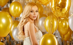 Картинка golden, sexy, party, Blonde, balloons