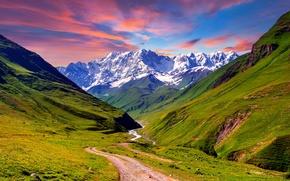 Картинка дорога, небо, трава, снег, горы, landscape, nature, луга