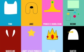 Картинка Jake, Adventure Time, Finn, Marceline, Gunter, Ice King, Lumpy Space Princess, Princess Bubblegum, Beemo