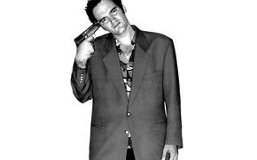 Картинка взгляд, пистолет, фон, актёр, Quentin Tarantino, Квентин Тарантино, режисёр