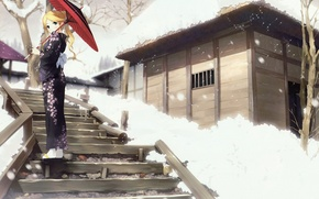 Картинка девушка, зонтик, кимоно