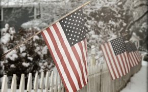 Картинка snow, Winter fence, American Flag