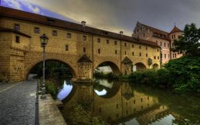 Обои мост, дом, Германия, фонарь, канал, арка, речка, Amberg
