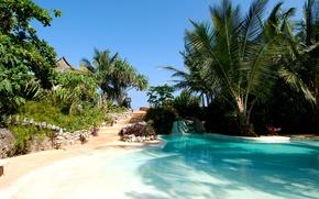 Картинка вилла, бассейн, пальмы, ранчо