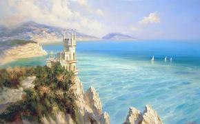 Картинка море, пейзаж, горы, замок, скалы, голубой, красота, простор, парус, крым, Ласточкино гнездо, Милюков Александр