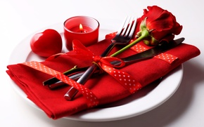 Картинка романтика, роза, сердечки, love, rose, heart, romantic, сервировка, Valentines's Day
