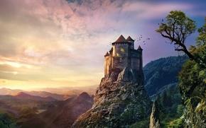 Картинка закат, горы, скала, камни, замок, старый, старинный, castle