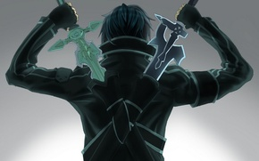 Обои спина, Sword art online, кирито, Kirito, два меча, мастера меча онлаин