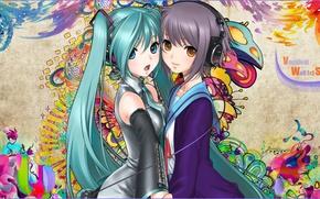 Обои hatsune miku, vocaloid, snyp art, девушки, узор, наушники, nagato yuki