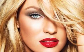 Картинка взгляд, лицо, модель, блондинка, губы