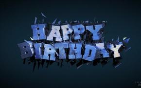 Картинка текст, день рождения, cinema 4d, render, рендер, открытка, B-day, birth day