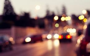 Картинка дорога, car, макро, машины, city, город, огни, движение, widescreen, транспорт, обои, улица, wallpaper, road, автомобили, ...