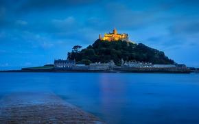 Картинка огни, замок, Англия, Корнуолл, гора Святого Михаила, залив Маунтс