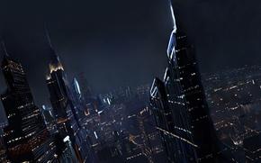 Картинка небо, город, небоскребы, арт