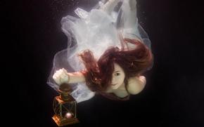 Картинка вода, девушка, лампа