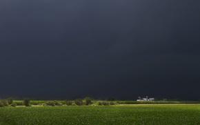 Картинка поле, дом, дождь, буря, house, storm, rain, field, ферма, farm