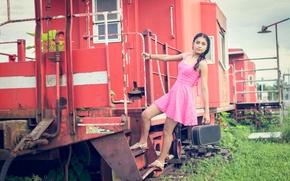 Картинка девушка, платье, вагон, розовое, чемодан