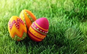 Картинка трава, праздник, яйца, весна, Пасха, Easter, расписные, пасхальные