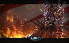 Картинка флаги, пламя, оружие, WoW, троль, World of Warcraft, замок