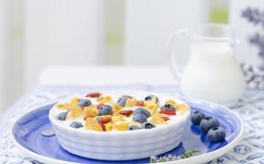 Обои ягоды, завтрак, молоко, хлопья, голубика