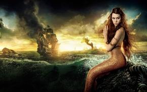 Картинка the movie, корабль, русалка, берег, пена, брызги, море, волны, On stranger tides, Pirates of the ...