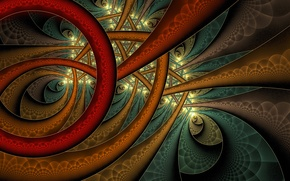 Картинка линии, объем, узор, дуга, краски