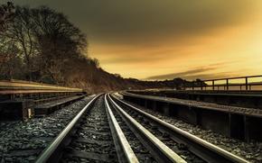 Обои железная дорога, пейзаж, закат