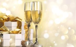 Картинка праздник, новый год, бокалы, подарки, пробка, шампанское, коробки, боке