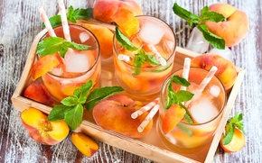 Картинка лед, стаканы, напиток, персики, мята, лимонад