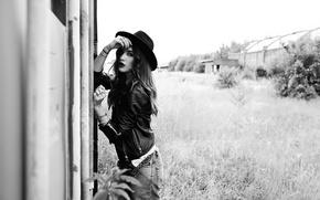 Картинка взгляд, стиль, модель, шляпа, мода, Rod