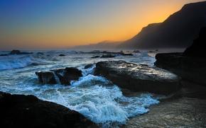 Обои волна, горы, берег, побережье, пена, море, пляжи, волны, вода, океан, вечерние пейзажи, скалы, капли, гора, ...