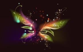 Обои линии, цветы, узор, бабочка, звёздочки