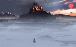 Обои человек, снег, зима, поле, замок