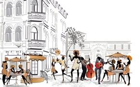 Картинка Париж, Девушки, Музыка, Город, Площадь, Улица, City, Paris, Music, Square, Street, Girls, Парни, Guys