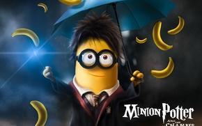 Картинка fantasy, school uniform, yellow, umbrella, movie, Harry Potter, funny, glasses, film, Minions, bananas, Minion, parody, …