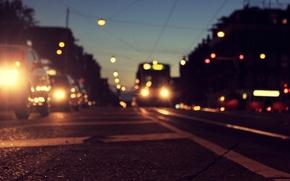 Картинка Голландия, Amsterdam, разметка, дорога, асфальт, машины, город, огни, Амстердам, вечер, Нидерланды, сумерки, трамвай, Nederland, боке