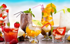 Картинка лед, лето, ягоды, апельсин, шоколад, бокалы, клубника, стаканы, фрукты, напитки, цитрусы, коктейли, cocktails, шейки